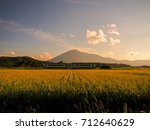 rice fields and mountain view ... | Shutterstock . vector #712640629