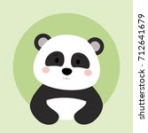 cartoon animal in round frame.... | Shutterstock .eps vector #712641679