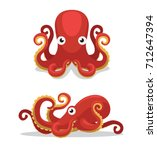 Cute Octopus Cartoon Vector...
