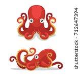 Cute Octopus Cartoon Vector...