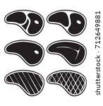 steak icons set. vector | Shutterstock .eps vector #712649881