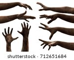 Zombie Hands On White Background