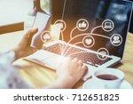 brainstorm teamwork meeting... | Shutterstock . vector #712651825