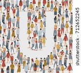 crowd of people in the shape of ... | Shutterstock .eps vector #712652245