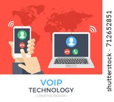 voip technology  voice over ip  ... | Shutterstock .eps vector #712652851