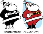 santa claus throwing his head... | Shutterstock .eps vector #712654294