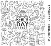 beach day summer doodle icons...   Shutterstock .eps vector #712655221
