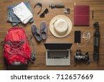 top view of traveler's...   Shutterstock . vector #712657669