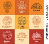 line grain  groats  cereal logo ... | Shutterstock .eps vector #712662829