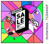 summer sale retro memphis style ... | Shutterstock .eps vector #712666669