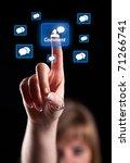 woman hand pressing social... | Shutterstock . vector #71266741