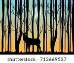 deer in the forest vector... | Shutterstock .eps vector #712669537
