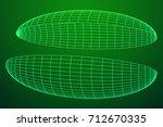 wireframe mesh hemisphere shell.... | Shutterstock .eps vector #712670335