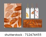 set of autumn sale  gift... | Shutterstock .eps vector #712676455