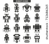 robot icons set | Shutterstock .eps vector #712686265