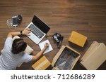 top view of women working... | Shutterstock . vector #712686289