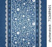 floral pattern on denim...   Shutterstock .eps vector #712689601