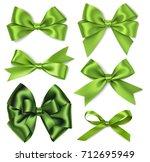 vector set of green bow.... | Shutterstock .eps vector #712695949