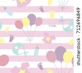 cute seamless pattern with baby ... | Shutterstock .eps vector #712696849