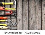 top view of working tools... | Shutterstock . vector #712696981