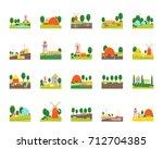 cartoon eco farm landscape...   Shutterstock .eps vector #712704385