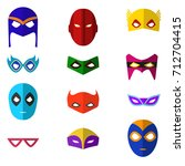 cartoon superhero mask color... | Shutterstock .eps vector #712704415