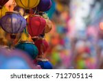 colorful of tradition lanterns... | Shutterstock . vector #712705114