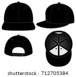 black hip hop hats for template | Shutterstock .eps vector #712705384