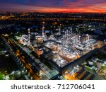 aerial view of twilight of oil... | Shutterstock . vector #712706041