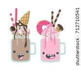 vector milkshakes cartoon... | Shutterstock .eps vector #712710541