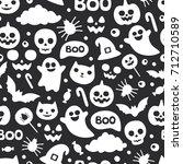 vector cute seamless halloween...   Shutterstock .eps vector #712710589