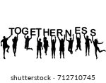 people silhouettes holding... | Shutterstock .eps vector #712710745
