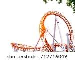 Roller Coaster On White...