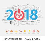 2018 start up business success... | Shutterstock .eps vector #712717357