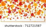 falling autumn leaves with...   Shutterstock .eps vector #712721587
