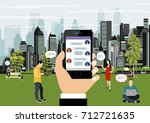 human hand holds smart phone... | Shutterstock .eps vector #712721635