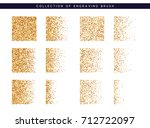 set of brush stipple gold... | Shutterstock .eps vector #712722097