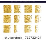 set of brush stipple gold... | Shutterstock .eps vector #712722424