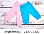 collection of new kids trousers.... | Shutterstock . vector #712736227