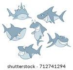 vector set of cute sharks for... | Shutterstock .eps vector #712741294