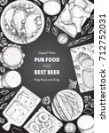 pub food frame vector... | Shutterstock .eps vector #712752031
