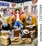 Small photo of BANGKOK THAILAND , SEPTEMBER 3 2017 . Luffy ( One piece manga main character ) life size model with decoration at Japan Expo 2017 Thailand on SEPTEMBER 3 2017