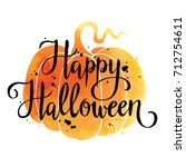happy halloween  hand drawn... | Shutterstock .eps vector #712754611