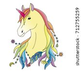 unicorn symbol. fairy tale... | Shutterstock .eps vector #712755259