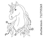 unicorn black and white tattoo  ... | Shutterstock .eps vector #712755265