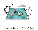 cat in pocket with patch | Shutterstock .eps vector #712759465