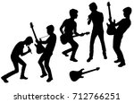 vector silhouettes of teenagers ... | Shutterstock .eps vector #712766251