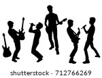 vector silhouettes of teenagers ... | Shutterstock .eps vector #712766269