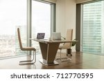 image of work desk with two... | Shutterstock . vector #712770595