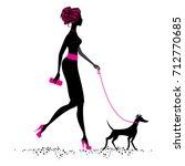silhouette beautiful girl ... | Shutterstock .eps vector #712770685